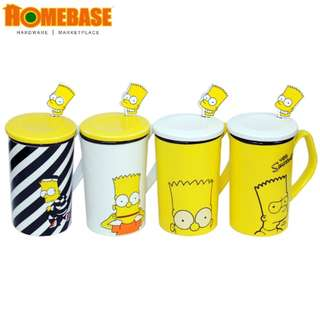 HOMEbase Ceramic Cup Set - 4 PCS, Cute Banana 250ML