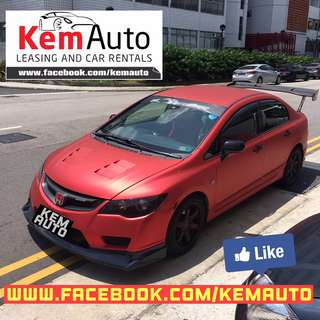 Drift Racing Matte Red HONDA CIVIC 1.6A Voltex Wing / Type R bodykit / D2 coilovers for Car Rental
