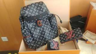 LV backpack 背包 銀包