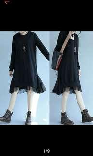 O neck lace patchwork dress. PO
