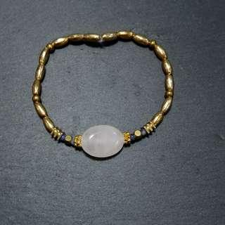 🚚 手作-粉晶*藍紋石黃銅手鍊