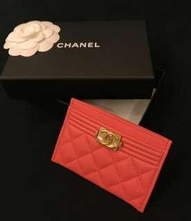 Chanel boy card holder (pink)