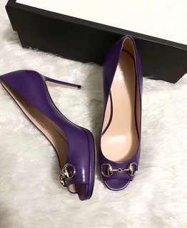 GUCCI專櫃正品 ~ 馬蹄扣紫色魚嘴高跟鞋,36.5碼