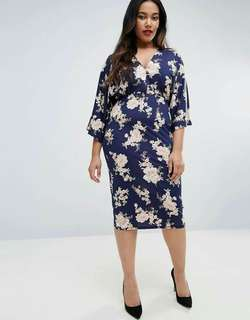 Full 3D Floral Plus Size Waisted Dress