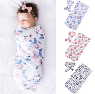 Baby Swaddle cotton muslin wrap cotton soft with headband blue floral