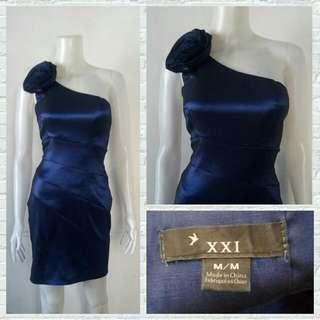XXI Royal Blue One Shoulder Cocktail Dress