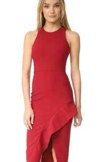 Side Slit Ruffle Red Dress