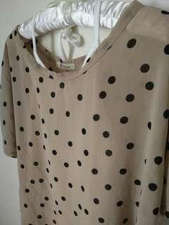 🚚 兩件式雪紡圓點點上衣罩衫+內綁帶小可愛 #一百元好物