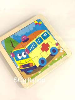 Wooden puzzle (Ambulance/ transportation) - baby shower door gift, preschool birthday party goodies bag gift, goodie bag packages