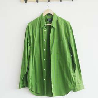 DKNY Green Men' Shirt Kotak Long