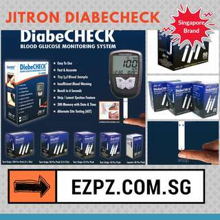 DISCOUNTED Jitron DiabeCHECK Blood Glucose Monitor Device, Lancet Striped Bulk Refills