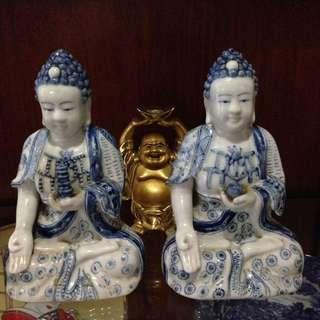 Ceramic Buddha for sale Pair