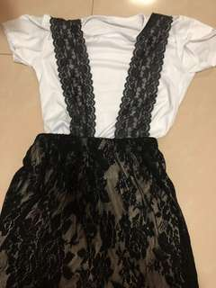 Lace dress with inner white tee shirt