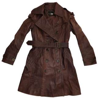 $449 MNG ladies M 10 vintage wash BROWN REAL genuine LEATHER TRENCH COAT jacket