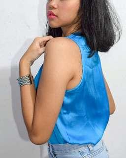 Elementz Blue Satin Top
