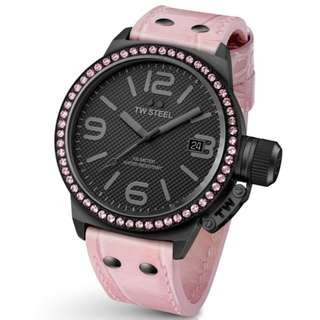 Authentic TW Steel Canteen 45mm Black Dial Crystal-set Bezel Pink Leather Ladies Watch TW911
