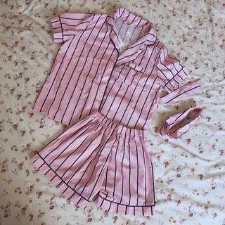 粉色條紋睡衣四件組
