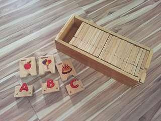 Wooden interlocking alphabets tiles blocks with box