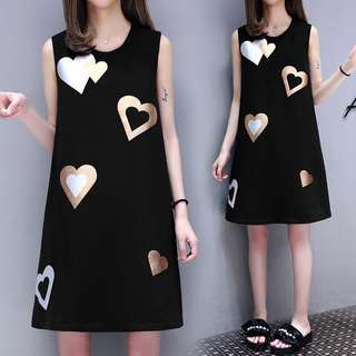 Silver and White Hearts Black Sleeveless Dress