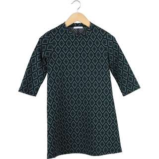 Zara Green And Black Patterned Mini Dress