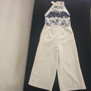 White Jumpsuit Culottes