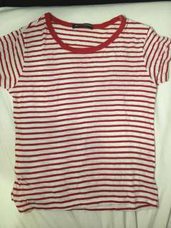 Brandy Melville Red & White striped tee