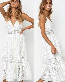 Sexy Deep V Neck Hollow Out Lace Dresses
