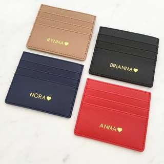 Custom card holder personalised cardholder card case monogram card holder