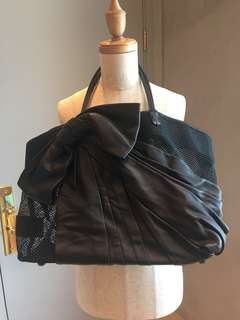 Valentino Mesh Black Tote with Bow