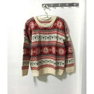 (FREE NM) Cream & Red Sweater