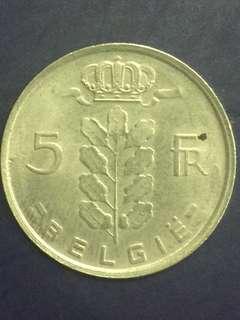 Belgium 5 FR year 1977, XF
