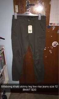 Billabong low rise khaki skinny jeans