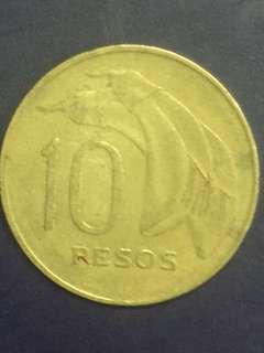 Uruguay.  10 pesos year 1968, Vf