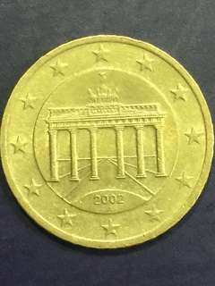 Euro 50 Cents , year 2002, Germany design , Vf