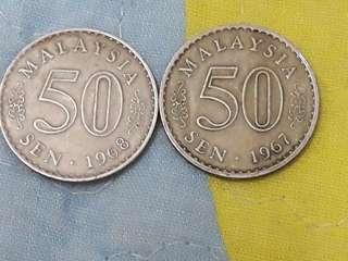 Syiling 50sen 1967/1968 tebelah