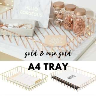 Metallic A4 Letter Paper Tray/ Rose Gold/ Copper/ Minimalist/ Makeup Organiser/ gold wire metal basket
