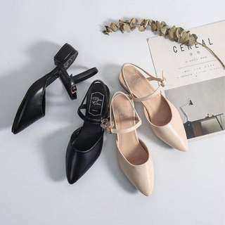 2018 New pattern one word Buckle High-heeled shoes Spring and summer fashion All-match Shallow mouth Pointed shoes With crude Sandals