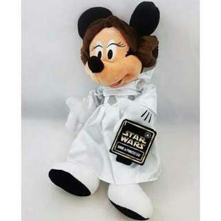 Minnie Mouse as Princess Leia Disney Starwars Plush