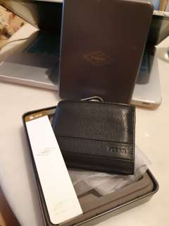 Fossil Black Leather Wallet RFID protected