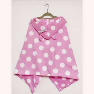冬天超值二手 保暖 粉紅水玉 保暖懶人連帽室內外套 絨毯