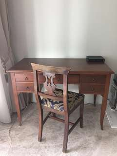 Last week in Sg! Make an offer! Table desk and chair in modern walnut