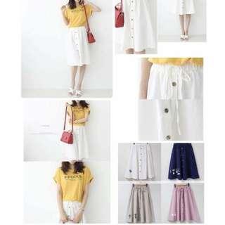 《5/25結單》韓國鬆緊排釦圓裙-預購  056204