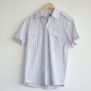 X(S.M.L) Men's Shirt Stripe Short Pocket