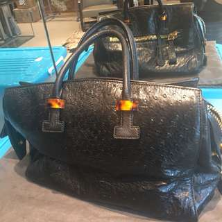 Tom Ford ostrid leather footed bag