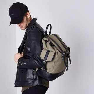 全新 歐美 英國品牌 質感 軍綠 帆布 後背包 旅遊 旅行 休閒 商務 ASOS