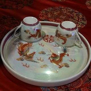 Chinese Vintage Tray And 2 Tea Cups  Pearl Glazed