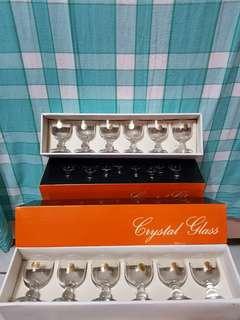 🚚 (懷舊商品)水晶玻璃酒杯2盒(6只/盒)