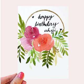 Floral half-wreath greeting card A6 | Pearlescent ; Embossed | Customisable ; Personalised | Birthday; congrats; invite; wedding; thank you; get well soon; farewell