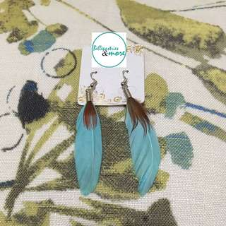 teal brown feather dangling earings