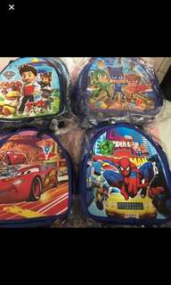Instock now!! Durable Kids goodies bag can still use after event as casual bag .. design - frozen/moana/trolls/Minnie /Sofia/princess/pj mask/paw patrol/mc Queen/spiderman.. pm me For Bulk purchase .. ideal birthday gift set . Ht 27cm wt 23cm
